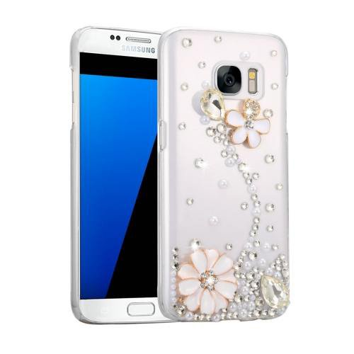 For Galaxy S7 Fevelove Diamond Incrusted Flower Pattern PC Case Back Cover