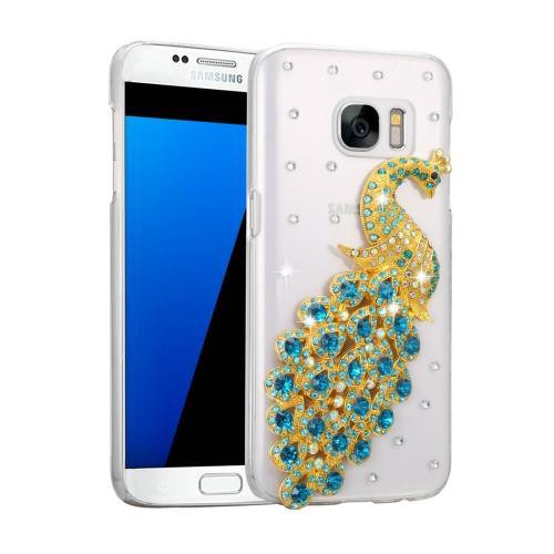 For Galaxy S7 Fevelove Diamond Incrusted Peacock Pattern PC Case Back Cover
