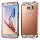 For Galaxy S7 Rose Gold Electroplating Back Shell Cover + Metal Bumper Frame