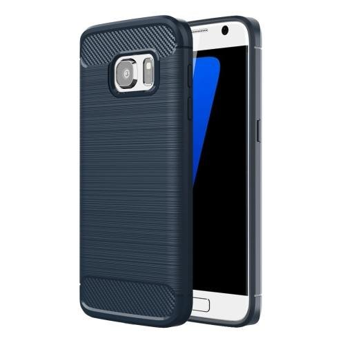 For Galaxy S7 Dark Blue Brushed Fiber TPU Rugged Armor Protective Case