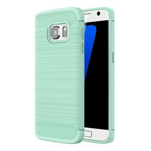 For Galaxy S7 Green Brushed Fiber TPU Rugged Armor Protective Case