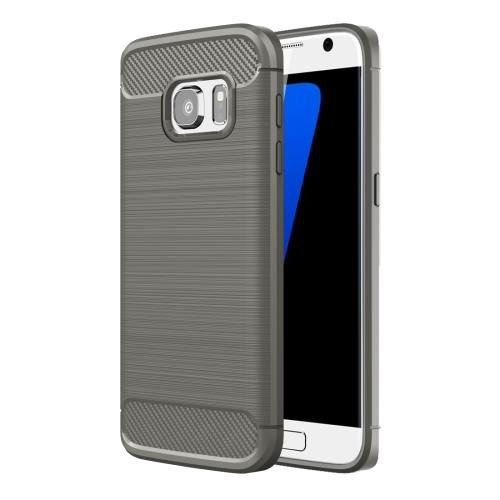 For Galaxy S7 Grey Brushed Fiber TPU Rugged Armor Protective Case