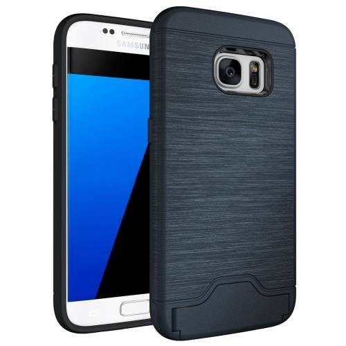 For Galaxy S7 Dark Blue TPU + PC Brushed Back Case with Card Slot & Holder