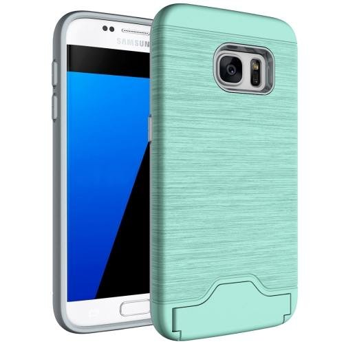 For Galaxy S7 Green TPU + PC Brushed Back Case with Card Slot & Holder