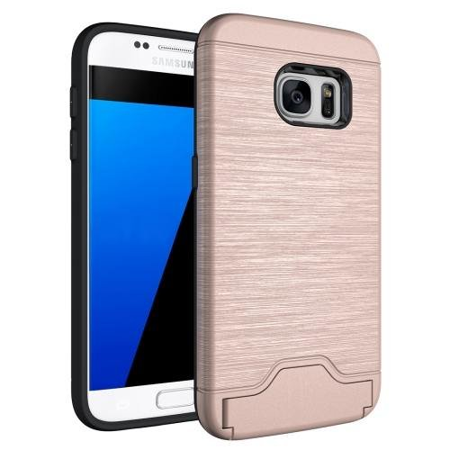 For Galaxy S7 Rose Gold TPU + PC Brushed Back Case with Card Slot & Holder