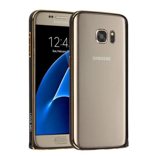 For Galaxy S7 Black Hippocampal LOVE MEI Buckle Metal Aluminum Bumper Frame