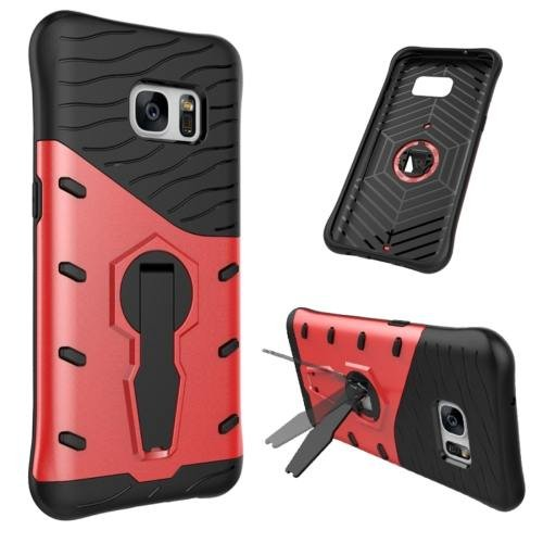 For Galaxy S7 Red Rotating Spin Tough Armor TPU+PC Case with Holder