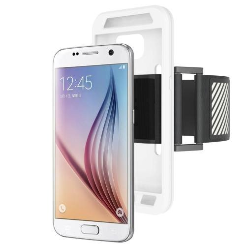 For Galaxy S7 White Sport Armband with Detachable Premium Silicone Case