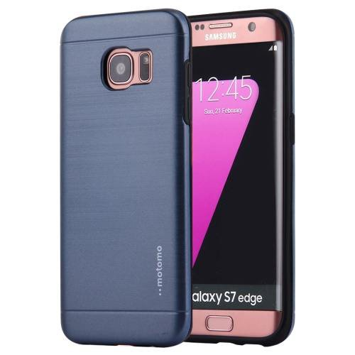 For Galaxy S7 Dark Blue Motomo Brushed Texture Metal + TPU Protective Case