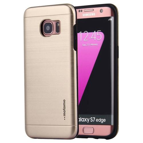 For Galaxy S7 Gold Motomo Brushed Texture Metal + TPU Protective Case