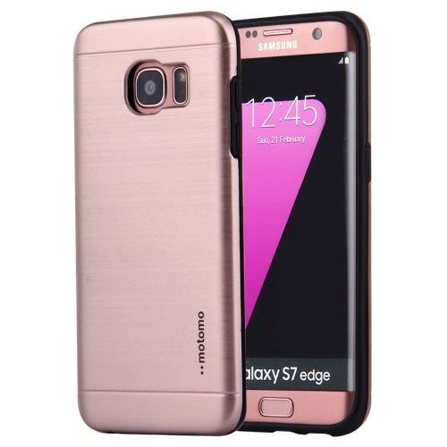 For Galaxy S7 Rose Gold Motomo Brushed Texture Metal + TPU Protective Case