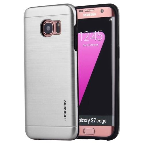 For Galaxy S7 Silver Motomo Brushed Texture Metal + TPU Protective Case