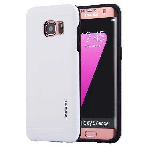 For Galaxy S7 White Motomo Brushed Texture Metal + TPU Protective Case