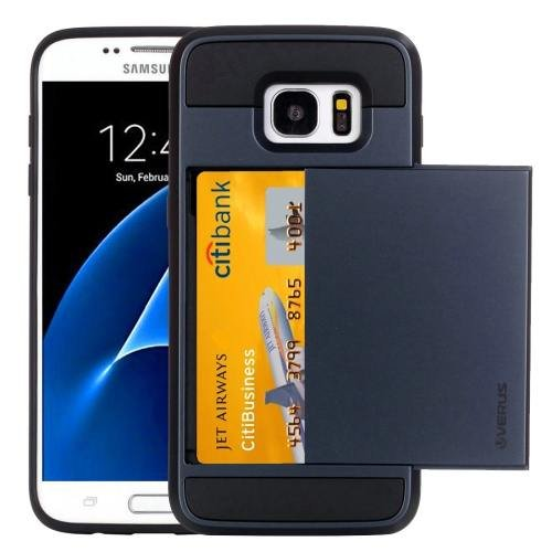 For Galaxy S7 Dark Blue Verus Slide Style TPU + PC Case with Card Slot