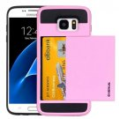 For Galaxy S7 Pink Verus Slide Style TPU + PC Case with Card Slot