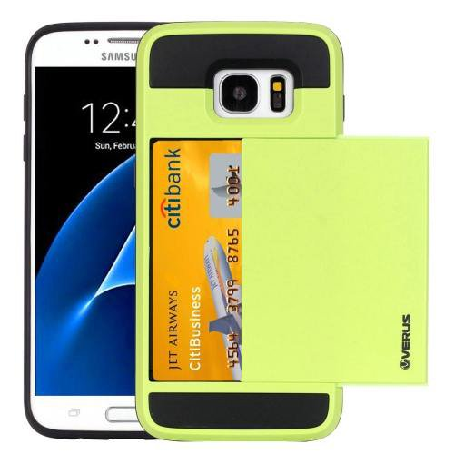 For Galaxy S7 Green Verus Slide Style TPU + PC Case with Card Slot