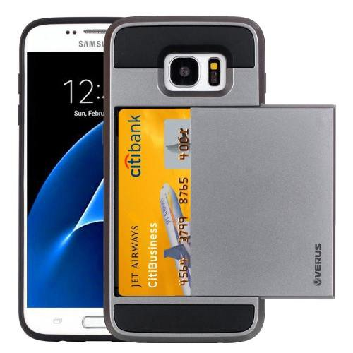 For Galaxy S7 Grey Verus Slide Style TPU + PC Case with Card Slot