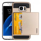 For Galaxy S7 Gold Verus Slide Style TPU + PC Case with Card Slot