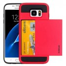 For Galaxy S7 Red Verus Slide Style TPU + PC Case with Card Slot