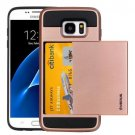 For Galaxy S7 Rose Gold Verus Slide Style TPU + PC Case with Card Slot