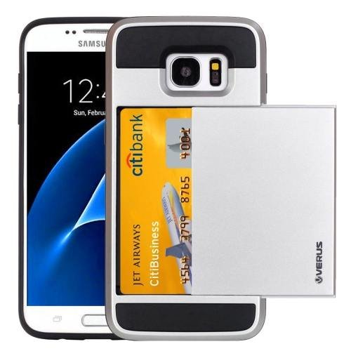 For Galaxy S7 Silver Verus Slide Style TPU + PC Case with Card Slot