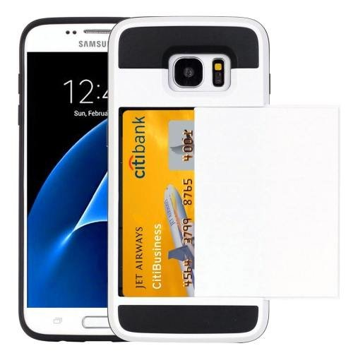 For Galaxy S7 White Verus Slide Style TPU + PC Case with Card Slot