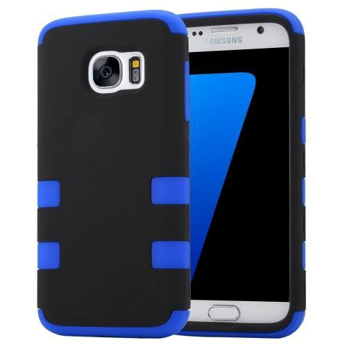 For Galaxy S7 Dark Blue Shock-resistant Silicone + PC Protective Case
