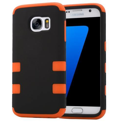 For Galaxy S7 Orange Shock-resistant Silicone + PC Protective Case