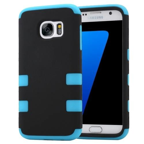 For Galaxy S7 Blue Shock-resistant Silicone + PC Protective Case