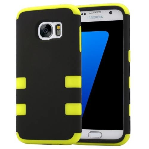 For Galaxy S7 Yellow Shock-resistant Silicone + PC Protective Case