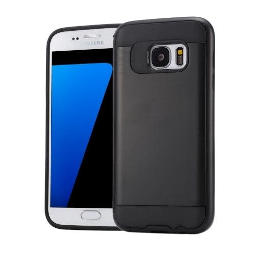 For Galaxy S7 Black Verus Brushed Texture PC + TPU Protective Case