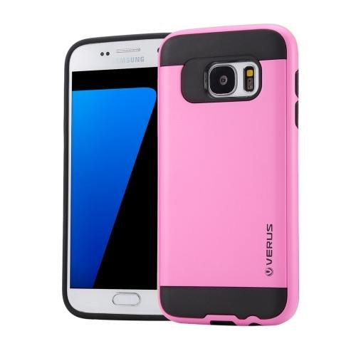 For Galaxy S7 Pink Verus Brushed Texture PC + TPU Protective Case