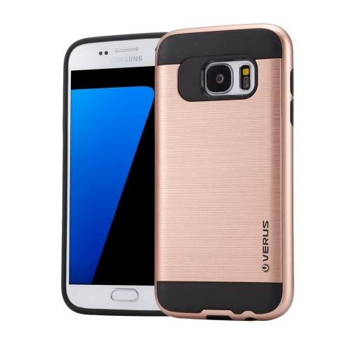 For Galaxy S7 Rose Gold Verus Brushed Texture PC + TPU Protective Case
