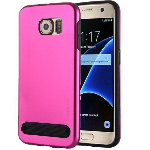 For Galaxy S7 Magenta MOTOMO Armor Metal + TPU Protective Case
