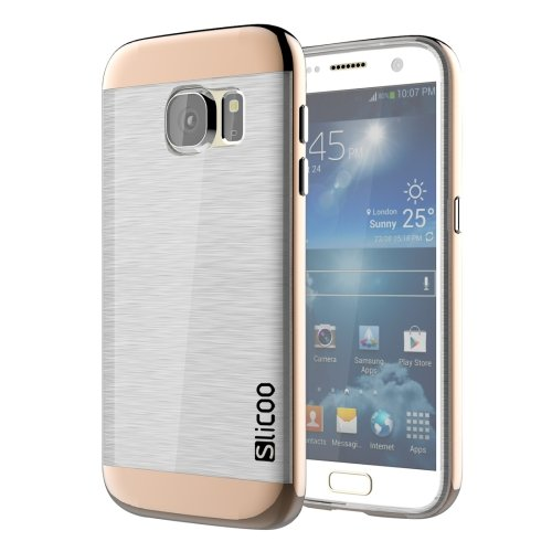 For Galaxy S7 Coffee Slicoo Separable Brushed TPU + Electroplating PC Case