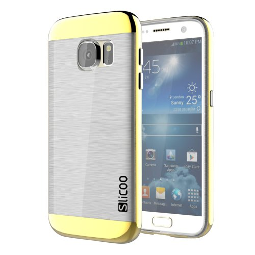 For Galaxy S7 Gold Slicoo Separable Brushed TPU + Electroplating PC Case