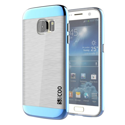 For Galaxy S7 Blue Slicoo Separable Brushed TPU + Electroplating PC Case