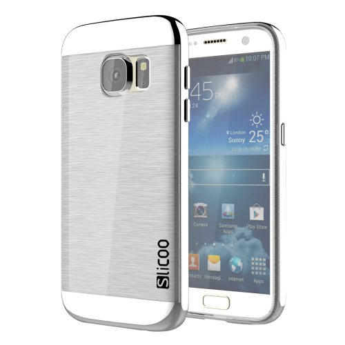 For Galaxy S7 Silver Slicoo Separable Brushed TPU + Electroplating PC Case