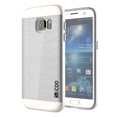 For Galaxy S7 White Slicoo Separable Brushed TPU + Electroplating PC Case
