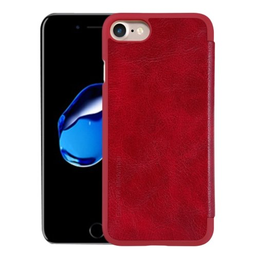 For iPhone 7 Red NILLKIN QIN Flip Leather Case with Card Slot
