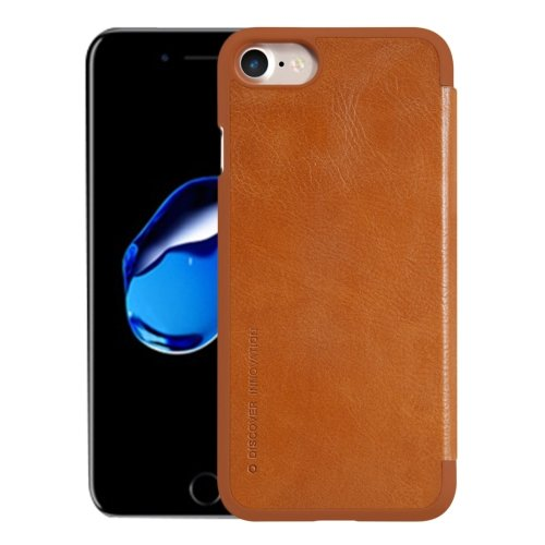 For iPhone 7 Brown NILLKIN QIN Flip Leather Case with Card Slot