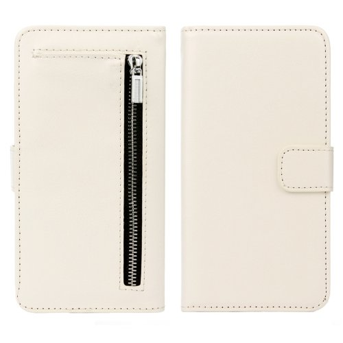 For iPhone 7 White Separable Crazy Horse Zipper Wallet Flip Leather Case