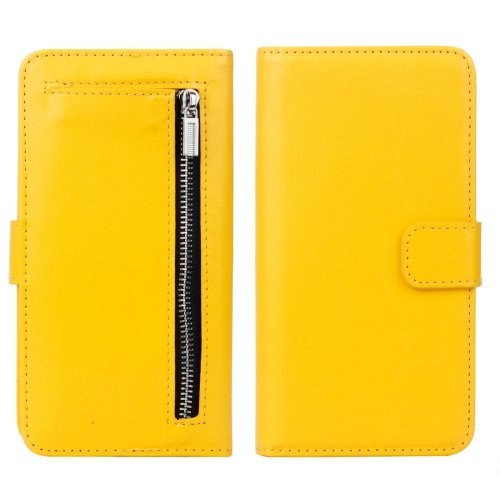 For iPhone 7 Yellow Separable Crazy Horse Zipper Wallet Flip Leather Case