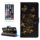 For iPhone 7 Butterfly Black PU Leather Case with Holder, Card Slots & Wallet