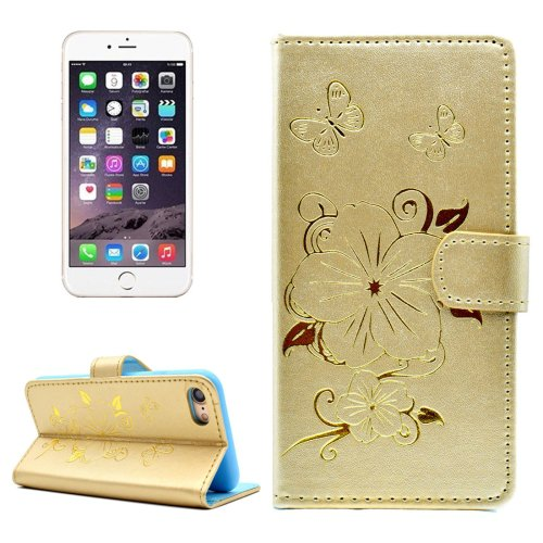 For iPhone 7 Butterfly Gold PU Leather Case with Holder, Card Slots & Wallet