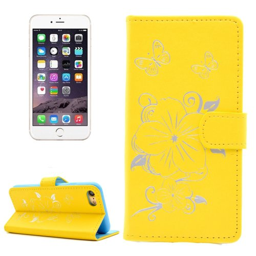 For iPhone 7 Butterfly Yellow PU Leather Case with Holder, Card Slots & Wallet