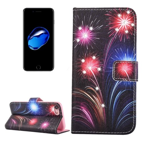 For iPhone 7 Fireworks Diamond Leather Case with Card Slots & Wallet
