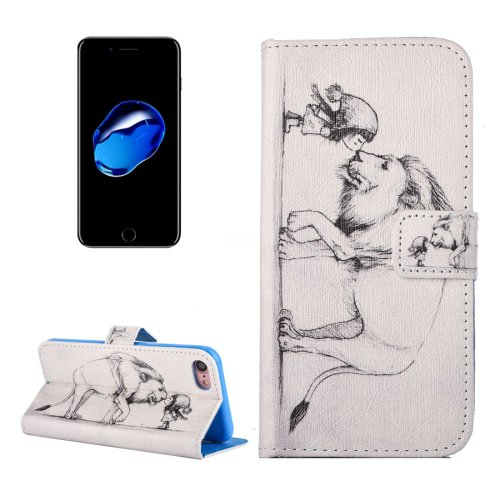 For iPhone 7 Lion Pattern PU Leather Case with Holder, Card Slots & Wallet