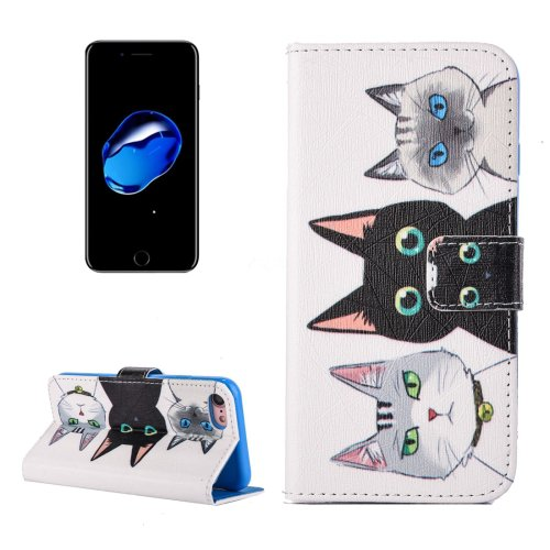For iPhone 7 3 Cats Pattern PU Leather Case with Holder, Card Slots & Wallet
