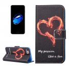 For iPhone 7 Heart Pattern PU Leather Case with Holder, Card Slots & Wallet